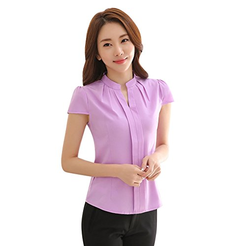 97b012b522fe9 EFINNY Women Office T-Shirt Uniform OL V Neck Henley Blouse Workwear Tops -  Buy Online in Oman. | Apparel Products in Oman - See Prices, Reviews and  Free ...