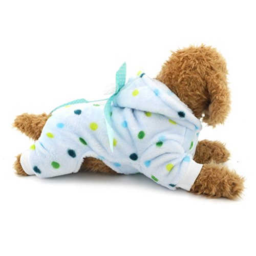 Zunea Colorful Dots Hooded Small Dog Cat Pajamas Flannel,Puppy Velvet Jumpsuit Pjs Pet Warm Sweater Winter Jacket Soft Coat Jumper Pullover Chihuahua Clothes Outfits Apparel Blue XXL