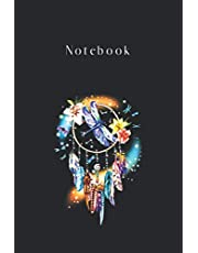 Notebook: Dragonfly Flower Dreamcatcher Dragonfly Lady Black Cover Designed for Kid Men and Women Valentine and Women Day Gift Notebook Journal Gifts with College Lined 6in - 9in - 125 Pages Write