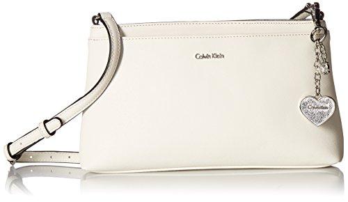 Calvin Klein Saffiano Zip Crossbody, White/Silver by Calvin Klein