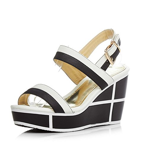 Color Heels Assorted High Open AmoonyFashion Sandals Womens Cow White Leather Toe Buckle Rzx60q