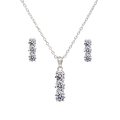 Rectangle 3 Stones Jewelry Set Necklace & Earrings AAA Cubic Zirconia For Women Wedding Party Prom (Silver) - 3 Stone Jewelry