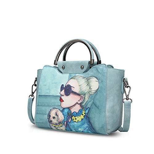 NICOLE&DORIS Elegante Tote Bolsos de Mano para Mujer Monederos Bolso Crossbody Mujer Bolso de Bandolera Bolsa PU Azul Marino Azul Claro