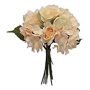 "Wedding Flowers 13"" Rose Hydrangea Tulip Bouquet Artificial Silk Home Decor 42"