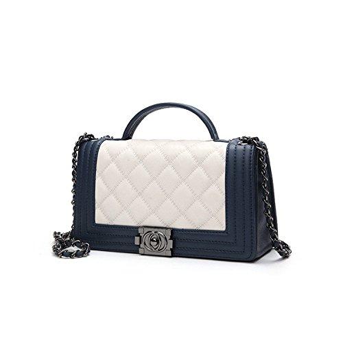 Women Fashion Lingge Chain Top Handle Satchel Handbags Shoulder Bag Tote Purse Bluewhite