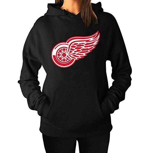 Women Detroit Red Wings Fleece Hoodie Pullover Hooded Sweater Black