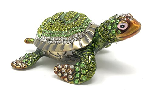 Kubla Crafts Bejeweled and Enameled Sea Turtle Trinket Box, Covered with Austrian Crystals ()