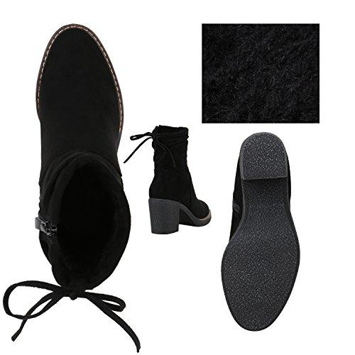 Stiefelparadies Klassische Damen Stiefeletten Lack Block Absatz Leder-Optik Flandell Schwarz Schleifen Brooklyn