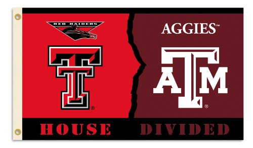 BSI NCAA Texas Tech - Texas A & M 3-by-5 Foot Flag with Grommets - Rivalry House Divided