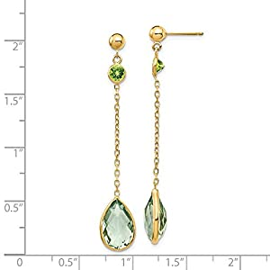 Beautiful Yellow gold 14K 14K Peridot and Green Quartz Post Earrings