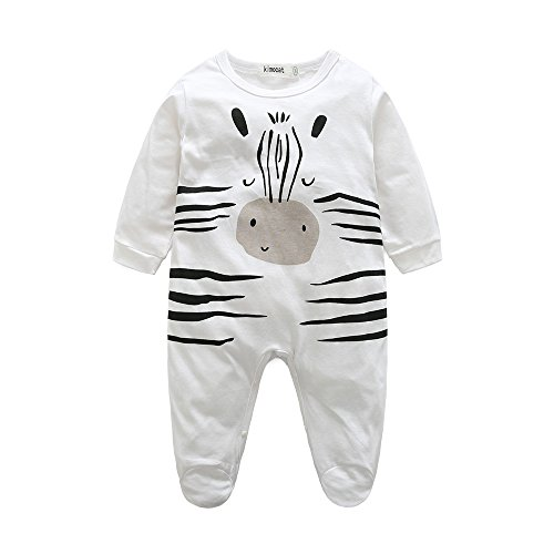Footie Pajamas Romper Sleepwear with Hat Baby Summer Cotton Long Sleeve Outfits White(6-12months)
