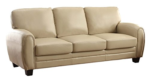Homelegance 9734TP-3 Upholstered Sofa, Taupe Bonded Leather Match (Leather Taupe Sofa Couch)