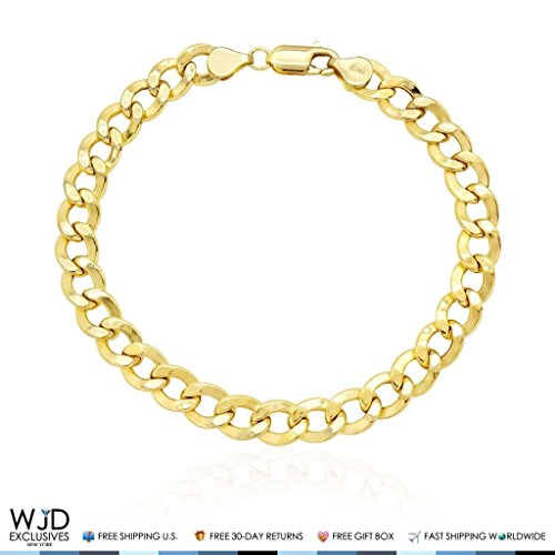 10K Yellow Gold 7.8mm Cuban Curb Hollow Link Bracelet 8.5'' by WJD Exclusives