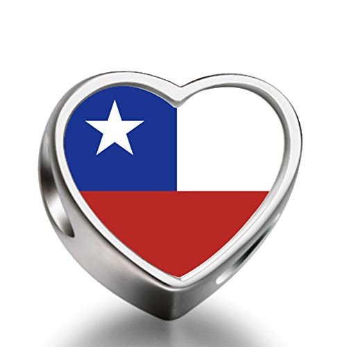 (Chile flag Heart Silver Plated Charms Bracelet Necklace Beads Waist Beads 6mm Hole Craft Metal Beads floating Charms for Women)