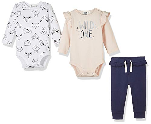 - Silly Apples Cotton Blend Baby Girls Long-Sleeve Bodysuit Onesies and Pant 3-Piece Outfit Set (3M)