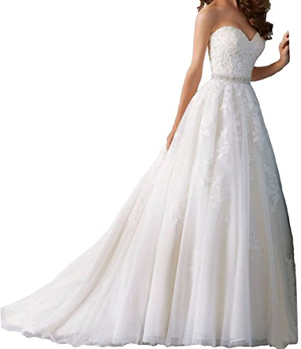 Trumpet/Mermaid Strapless Chapel Train Lace Wedding Dress (White) - 8