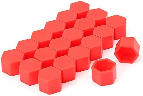 ホイールナットカバー 20個セット 【レッド】 19HEX用 シリコン製ナットキャップ ホイールをデコレーション ナットの汚れや錆防止にも FMTYKCP19MM (レッド)