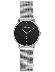 a.b.art FR31-135-6S Black Sapphire Crystal Dotted Lady Silver Mesh Watch