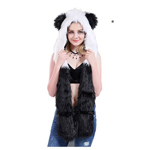 White Tiger Full Animal Hood Hat Cap Scarf Gloves Mittens Faux Fur Fleece Lined Interior Anime Spirit Paws Ears Zipper Furry -