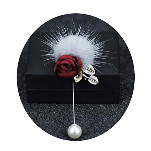 Mink Fur Women Flower Brooch Female Brooches Pins Coat Suit Cardigan Dress Jewelry Red