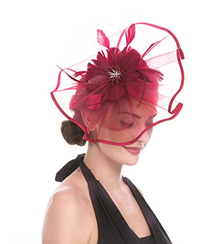 SAFERIN Fascinator Hat Headwear Feather Mesh Net Veil Wedding Tea Party Hat Flower Derby Hat for Women (TA1-Large Size Burgundy Feather Mesh) ()