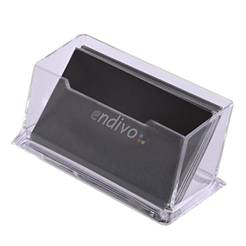 Desktop Business Card Holder Clear Acrylic Single Compartment - Elegant And Modern Design For Your Home Or Work Office. By Mega Stationers