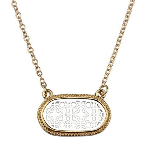 StylesILove Womens Trendy Two-Tone Cutout Quatrefoil Motif Oval Choker Necklace (Gold+Silver)