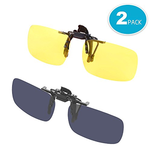 Elizza Polarized Clip-on Flip up Metal Sunglasses Lens Glasses Eyeglass for Driving Fishing Cycling and Other Outdoor - With Sunglasses Prescription Lenses