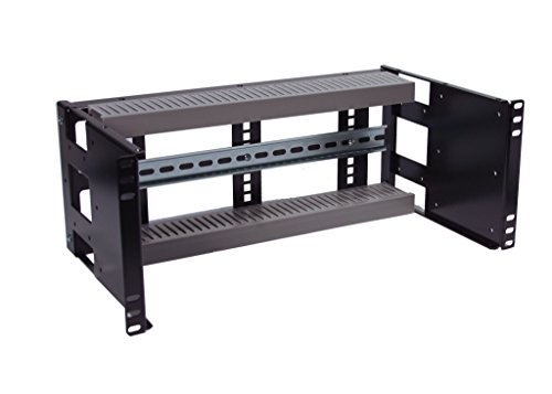 RCB1112BK15 Heavy Duty 4U Rackmount Adjustable Depth Industrial Din Rail Panel Designed for 2 Post or 4 Post EIA310 19 inch Server Rack