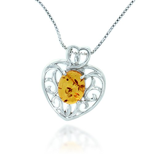 Rhodium Plated 925 Sterling Silver Amber Gemstone Filigree Heart Pendant Necklace, 18 inches