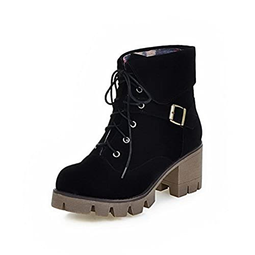 Women's Kitten Heels Frosted Low Top Solid Lace Up Boots