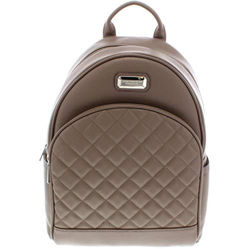 (Jones New York Womens Daisy Faux Leather Logo Backpack Taupe Medium)