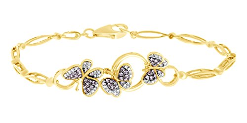 AFFY Women's Butterfly Bracelet in 10k Yellow Gold 0.25 CT Round Simulated Pink Sapphire & White Diamond 7.5