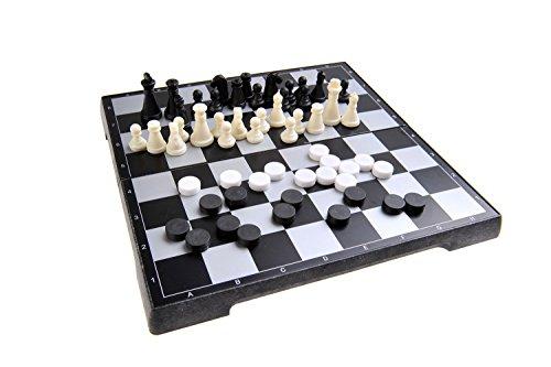 Magnetisches Brettspiel 2-in-1 (Reise-Größe): Schach, Dame - magnetische Spielsteine, Spielbrett zusammenklappbar, 20cm x 20cm x 2cm, Mod. SC2480 (DE)