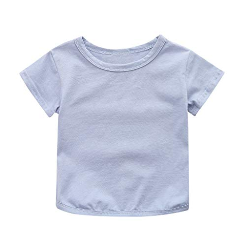 Toddler Baby Boys Girl T-Shirt Summer Solid Crewneck Short Sleeve Soft Casual Basic Shirt Tops (Blue, Recommended Age:3-4 Years) by Suoxo Baby Jumpsuits (Image #1)