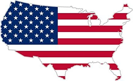 Amazoncom Usa United States Of America American Map Flag Sticker - American-flag-us-map