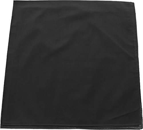 Black Bandanna (Black Solid Color Jumbo 100% Cotton Military Bandana (27