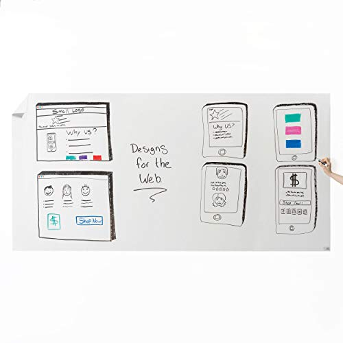 Think Board Self-Adhesive Whiteboard Wall Sticker, 4' x 8' Extra Large Peel and Stick Dry Erase Board Wall Cling for Home and Office, Removable Wall Decals, Super Sticky, Stain-Proof Message - Outs Wallpaper Border Cut