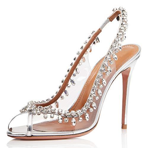 XYD Women Slingback High Heels Sandals Peep Toe Transparent Slip On Wedding Pumps Dress Shoes with Rhinestones Size 11 Silver ()