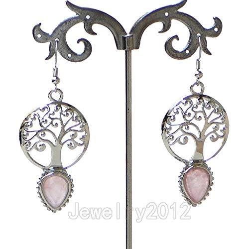 Calvas 5Pairs/Lot Natural Gem Stone Healing Reiki Chakra Tree of Life Teardrop Earrings Charm Beads DIY Jewelry Design Wholesale - (Color: 08 Rose ()