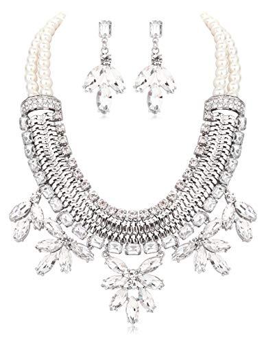 ORAZIO Custome Jewelry Set for Women Chunky Statement Collar Choker Bib Pearl Necklace Drop Dangle Crystal Teardrop Earrings Prom Wedding Jewelry