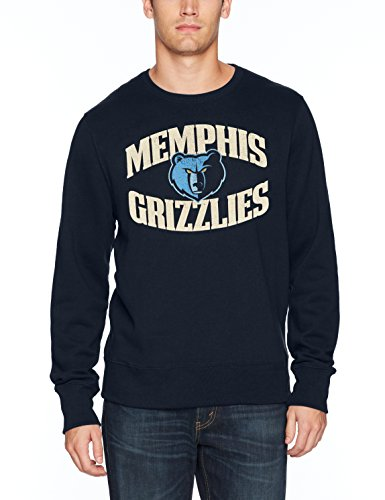 fan products of NBA Memphis Grizzlies Men's OTS Fleece Crew Distressed, Fall Navy, X-Large