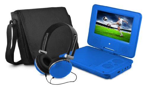 Ematic EPD707BU 7-Inch Portable DVD Player with Matching Headphones and Bag (Blue)