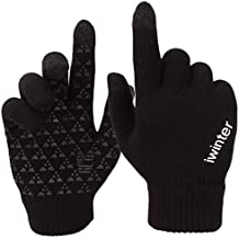Achiou Winter Knit Gloves Touchscreen Warm Thermal Soft Wool Lining Elastic Cuff Texting Anti-Slip 3 Size Choice for Women Men
