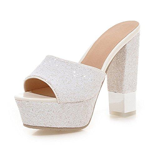noche de para básica Confort vestidos Sequin toe Chunky ZHZNVX mujer peep Verano White Oro blanco Zapatos Otoño Paillette bomba negro sandalias talón TYnZW5qn8