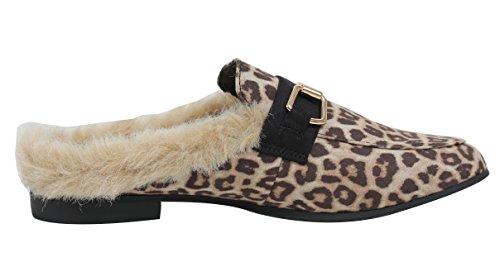 Paprika Womens Gold Tone Horsebit Furry Backless Slip On Mocassino Cheetah Mulo