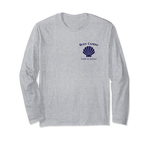 Camino de Santiago Scallop Shell and Buen Camino Phrase Long Sleeve T-Shirt (Pilgrimage De Santiago Compostela)