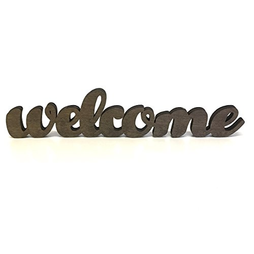 Wood Welcome Sign Made of Birch Plywood Stained Dark Walnut