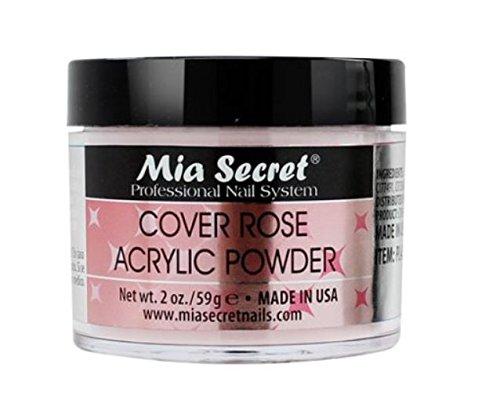 Mia Secret Cover Acrylic Powder -NUDE BLUSH /PINK /ROSE /BEIGE 0.5oz/1oz/2oz/4oz + FREE Temporary Tattoo! (2 oz, Rose)