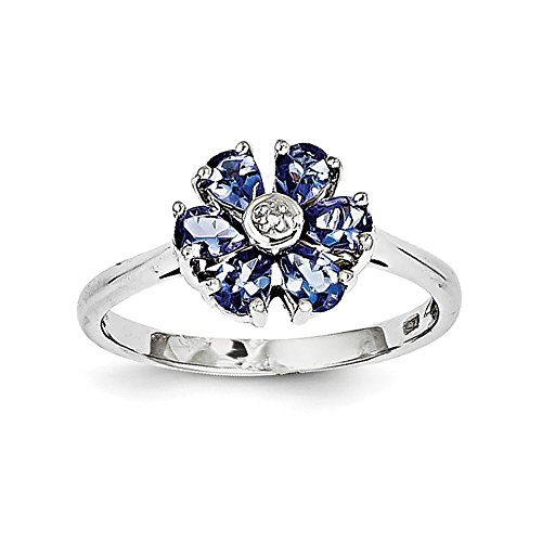 Tanzanite Diamond Cluster Ring (925 Sterling Silver Rhodium Plated Pear Cut 0.82CT Tanzanite and Diamond Cluster Ring Size 6)
